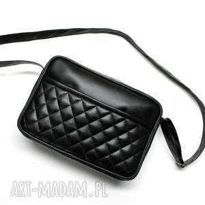 torebki niezwykle mała torba miejska - czarna, elegancka, nowoczesna, pikowana