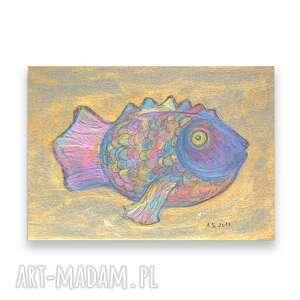kolorowy rysunek z rybką, ryba obraz, nowoczesna grafika do biura, złoty obrazek