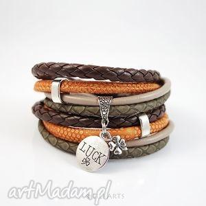 bransoletka - luck pomarańczowa, brązowa rzemienie, owijana, koniczynka