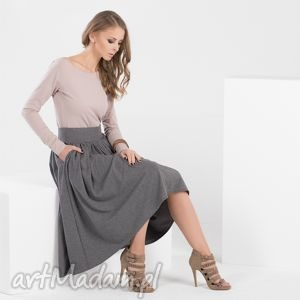 spódnice midi skirt spódnica marszczona z kieszeniami, spódnica, midi