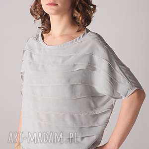 jasnoszara bluzka z plisami, szyfonowa, plisowana, lekka, plussize, unikatowa