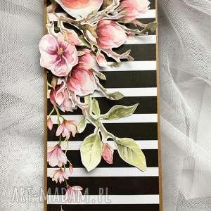 kartka bez okazji magnolia - urodziny, imieniny, podziękowanie, ona, magnolie