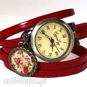 retro róże - zegarek bransoletka na skórzanym pasku, zegarek, bransoletka