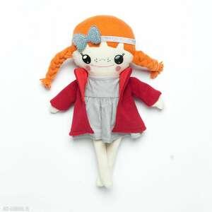 lalki bawełniana laleczka z rudymi warkoczami, lalka, laleczka, ręcznie szyta