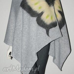 poncho ponczo wełną zdobione, motyle, wełna, ponczo, filcowanie, motyw, aplikacja