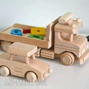 pokoik dziecka 2 samochody drewniane, samochód, auto, laweta, pojazd, drewniany