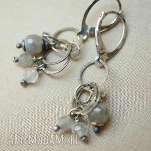 Kolczyki z szarego kwarcu i srebra, srebro, lekkie, delikatne, kobiece
