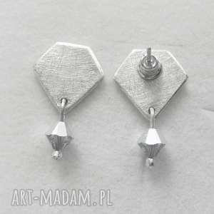 diament kolczyki, srebro, swarovski, zmatowione, święta prezent