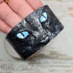 Prezent czarny kot ręcznie robiona bransoleta, czarny-kot, biżuteria-kot