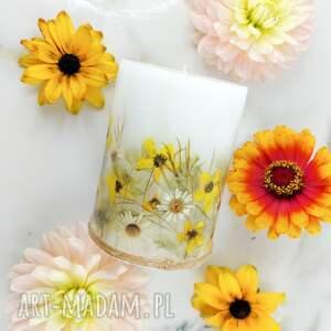 świeca słoneczna z suszonymi trawami kwiatami dekoracja do domu ozdoba, suszone