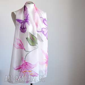 Malowany jedwabny szal -lilie i motyle, jedwabny, malowany, ręcznie, szalik,