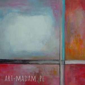 obraz na płótnie - abstrakcja 50/40 cm, abstrakcja, biel, pomarańcz, czerwień, szary