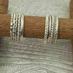 Pierścionki - obrączki ze srebra, ręcznie piłowane wzory loopart