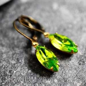kolczyki zieleń trawy - oryginalne kolczyki, zieleń, kryształ, brąz, prezent, lekkie