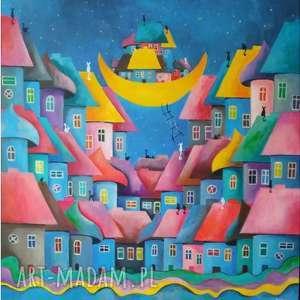 OBRAZ AKRYLOWY- Bajkowe miasteczko kotów format 80/80 cm, miasteczko, akryl, domki