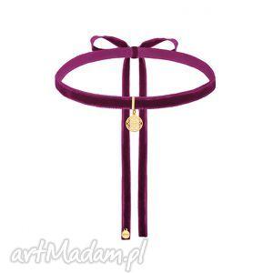naszyjniki purpurowy aksamitny choker ze złotą rozetką, modny, minimalistyczny