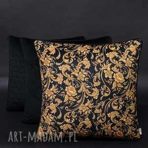 komplet 3 poduszek welur ornament czerń 45x45cm, poduszek, zestaw