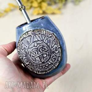 ceramiczne duże naczynie do yerba mate / matero handmade - aztec