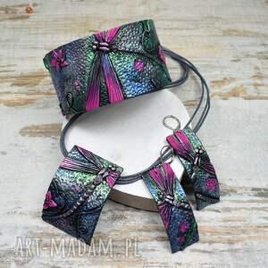 komplet biżuterii z ważką, biżuterii, biżuteria ważki, kolorowa