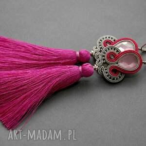 kolczyki sutasz - szary i fuksja, sznurek, eleganckie, wiszące, długie