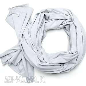 Długi popielaty szalik szal bawełniany, duży damski chusta