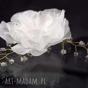 Kwiat z gałązką, swarovski, jedwab, kryształ, ozdoba, ślub, kwiat