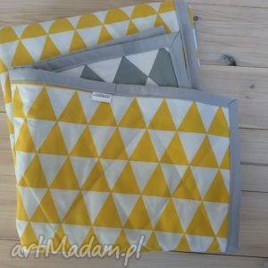Narzuta szaro-żółta 100x130 cm, narzuta, szara, żółta, trójkąty, romby, kapa
