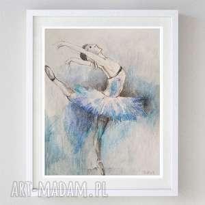 BALETNICA - akwarela formatu 18/24 cm, akwarela, papier, baletnica, kredki