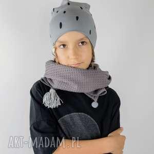 czapka grey plamki, czapka, beanie, dziecięca, jesienna, bawełna