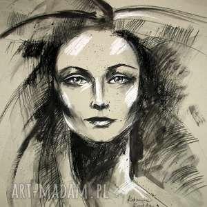 Nina - portret 50x70 cm, unikat, portret, rysunek, kobieta, radzka, design