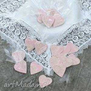 Ceramiczne magnesy, ceramicze, serca, serduszka, wesele, ślub