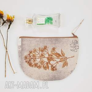 kosmetyczka półksiężyc, kosmetyczka, vintage, saszetka, natura, kwiaty, beżowa