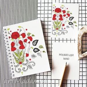 ręcznie zrobione notesy maki - kwiaty polskich łąk - notes a5