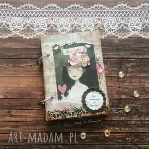 retro sekretnik/ notes, pamiętnik, zapiski, serce, kwiaty, koronki, prezent, pod