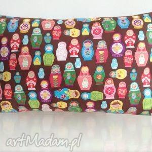Poduszka w kolorowe matrioszki, bawełna