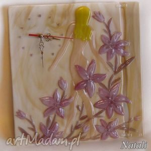 Artystyczna kompozycja ze szkła - zegar Poranek , szklo, zegary, kobieta, kwiaty