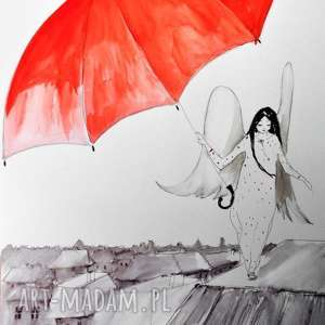 akwarela i piórko anioł z parasolem artystki plastyka adriany laube, rysunek