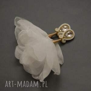 sisu klipsy sutasz z kwiatkami, sznurek, wyjściowe, ślub, eleganckie, ślubne