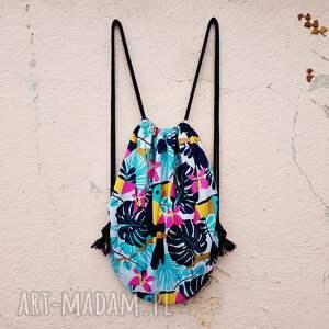 plecak worek z tukanem, plecak, worek, tukan, monstera, tropikalny, wakacyjny