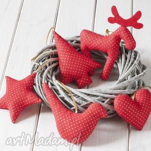 ozdoby świąteczne czerwone w złote kropki, 5 szt, ozdoba, dekoracja, zawieszka