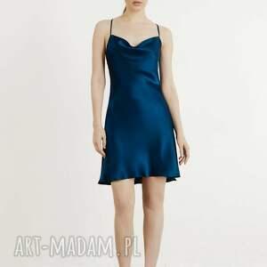 satynowa sukienka grace mini granatowa s, m, l, mini
