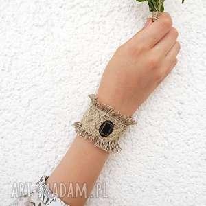 handmade maria - szeroka bransoletka lniana