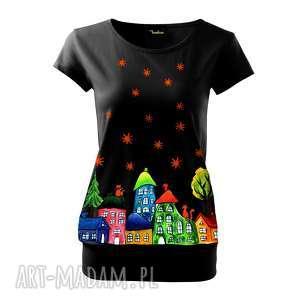 Bawełniana bluzka ręcznie malowany unikat - domki i gwiazdki
