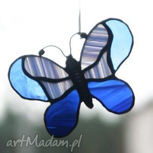 witraże motyl ultraniebieski 3, witraż, szkło, motyl, zawieszka, okno
