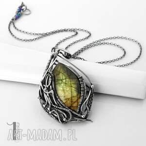 filix - srebrny naszyjnik z labradorytem - naszyjnik wire wrapping, naszyjnik
