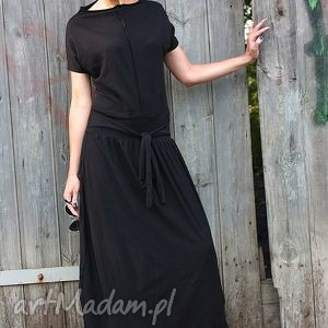 sukienki night mare-kombinezon, długi rękaw, czarny, bawełniany, kimono