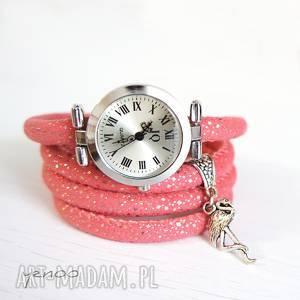 zegarek, bransoletka - flaming owijany, pudrowy róż, bransoletka, owijany
