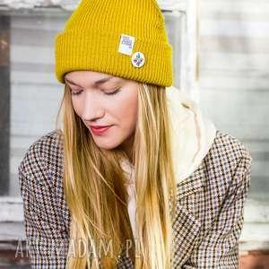 wywijana dwustronna logo kolorowe miodowa musztarda beanie, czapka jesienna, czapka hit