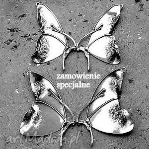 naszyjniki rezerwacja- dla pani katarzyny, motyl, duży, srebrny, broszka, elficki