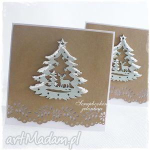oczekiwanie - kartka bożonarodzeniowa - święta, śnieg, choinka, jelonek